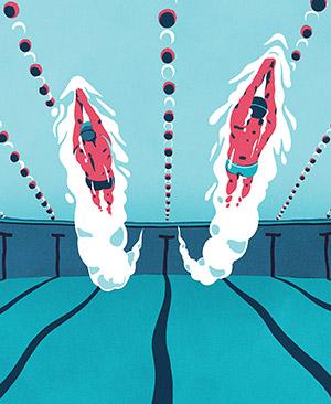 Illustration of Daichi Suzuki and David Berkoff